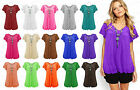 Ladies Frill Gypsy Wolmens Necklace Tunic Summer V Neck Plus Size Blouse Tops