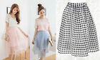 ♡IT♡ Tulle Sheer See-through Pastel Dog Tooth Jacquard Midi A-line Pleated Skirt