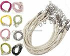 10Pcs Real Leather Adjustable Braided Necklace Charms String Cord,3 mm