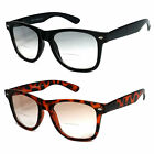 Retro Large Square Frame Light Tinted Bifocal Sunglasses Sun Reader UV400