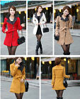 Women/Lady's Winter Wool Blend Zip Double Breasted Slim Coat Jacket Trench Coat