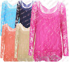 R17 NEW WOMEN CROCHET GIRLS FRONT BUTTERFLY LONG SLEEVE VEST TOP PLUS SIZE DRESS