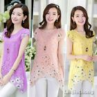 Women Crew Neck Floral Pattern Chiffon Slim Asymetric Overlayer Blouse Tops Pink