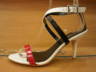 New Womens Vintage Retro Heels Open Toe Strappy Shoes Sandals Pumps White Sizes