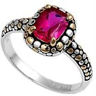 925 Sterling Silver Black Enamel Two Tone Ruby CZ Engagement Love Ring Size 3-11