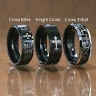 Black  8mm Tungsten Carbide Ring Christian Cross Bible Scroll Tribal Etch Band