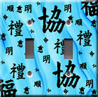 Light Switch Plate Cover - Asian text style - Wavy design deco language - Blue