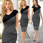 Pinup Women's V-Neck Striped Cap Sleeve Slim Cotton Bodycon Straight Dress Party