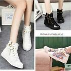Fashion Casual Women Canvas High Shoes Sport Boots Zipper Buckle Rivet Sneaker Y