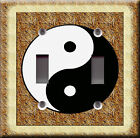 Light Switch Plate Cover - Yin yang bark wood - Chinese symbol icon rustic decor