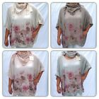LAGENLOOK BOHO OSFA NEW TWO PIECE TOP OVERSIZED FLORAL PRINT SEQUINS SIZE 14-24.