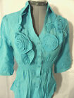 Nwt MOON RIVER Chiffon Roses Applique Top womens S,M,L Blue,White Smocked blouse