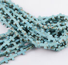Howlite Turquoise Side Ways Crosses Loose DIY Spacer Beads 12mm x 16mm A Strand