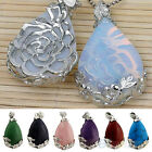 RETRO JEWEL NATURAL QUARTZ ANGEL TEARDROP FLOWER BEAD STONE PENDANT FOR NECKLACE