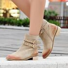 Womens Retro Studded Buckle Strap Zipper Cowboy Western Biker Ankle Boots Shoes