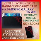 RICH LEATHER SOFT CARRY CASE for SAMSUNG GALAXY S5 MINI MOBILE HANDPOUCH COVER