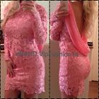 Celebrity Towie Bandage Bodycon Lace Backless Open Low Back Pink Dress 8 10