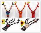 Handmade Coconut Shell Carved Leaf Flower Pendant Necklace More Colors Options