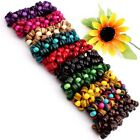 Handmade Mixed Coconut Shell Coin Round Bead Stretch Bracelet More Colors Option