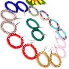 Handmade Assorted Mixed Colors Crystal Glass Faceted Bead Hoop Earrings 9 Option