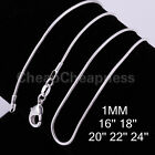 MO New Fashion Cool 1mm 925 Sterling Silver Plated SNAKE Chain Necklace UKJJL