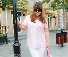 PN New Plus Large Size Lady Polyester Pink Pure Color Short Sleeve Blouse
