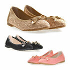 BRAND NEW Childrens, Girls Lace Flat Ballet Pumps with Bow