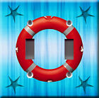 Light Switch Plate Cover - Rescue ring starfish blue - Navigation lifeguard save