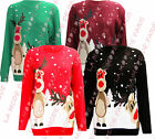 I49 NEW WOMEN DOUBLE REINDEER SNOWFLAKES LADIES MEN UNISEX PLUS SIZE XMAS JUMPER
