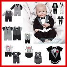 New Baby Boy Formal Tuexedo Bodysuit Romper Outfit Wedding Party Suit Clothes