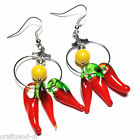 Red Earrings Chilli Pepper Murano Glass Silver Hook, Clip-On or Stud