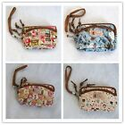 Floral Cotton Wallets Purses Pouch Wrist Strap Bags Clutch Coin Key Small Camera