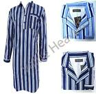 Mens Night Shirt Nightshirt 100% Brushed Cotton Flannel Navy Sky Blue Striped