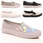 LADIES WOMENS TRAINERS PUMPS FLAT SPORTY CASUAL FASHION COMFORT SNEAKERS SIZE