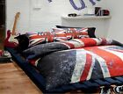 British Union Jack Flag Rock UK Reversible Bed Cover & Pillows Set - Choose Size