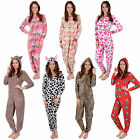 Ladies Fleece Onesie All In One Pyjamas Sleepsuit PJs Womens Adult Nightwear