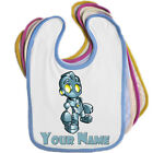 ROBOT PERSONALISED BABY BIB - ANY NAME / EDGE COLOUR  *NEW BABY GIFT PRESENT*