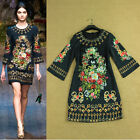 New Season Catwalk Runway Vintage Flower & Key  Print Retro Dress