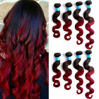 100% Hot 50g 1B/BURG# Ombre Body Waves Hair 10-30inch 6A Grade Hair Extensions