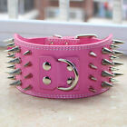 Hot Pink Leather 4 Rows Spiked Studed Dog Collar Large Breed Pitbull Rottweiler