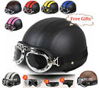 ECE DOT Motorcycle Open Face Half Leather Helmet With Visor Scarf & UV Goggles