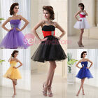 Colorful Short Homecoming Bridesmaid Dresses Mini Strapless Cocktail Party Gowns