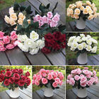 1x Bouquet French Rose Artificial Silk Flowers Wedding Party Home Floral Decor