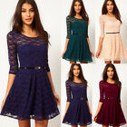 Fashion 4 Colors lady Sexy Spoon Neck 3/4 Sleeve Lace Dress Krueeva Sakter Dress