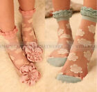 Womens Retro Sweet Flower Lace Socks Thin Transparent Stockings A7002 GBW