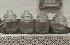 Small 13cm Vintage Retro Reeded Glass Storage Jars Jar Vacuum Seal Sweet Spice