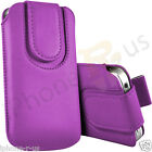 Light Purple Magnetic PU Leather Pull Tab Flip Case For Various Vodafone Models