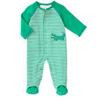 Little Me Boys Embroidered Alligator Raglan Long Sleeve Snap Front Footie with 3