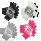 ADULTS WOMENS MENS FAIRISLE SNOWFLAKE TOUCH SCREEN SMART KNITTED WINTER GLOVES