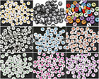 50pcs Mixed Acrylic Alphabet Letter Coin Round Flat Spacer Beads DIY 4x7mm